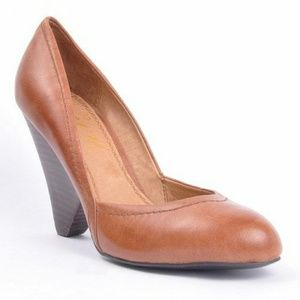 Envy Cognac Clara Almond-Toe Heels